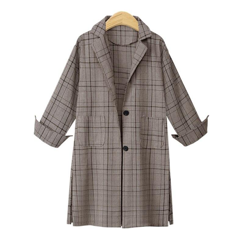 European Style 2018 Autumn Winter Women   Trench   Coats Long Sleeve Plaid Female Outerwears Loose Plus Size Pockets Windbreaker