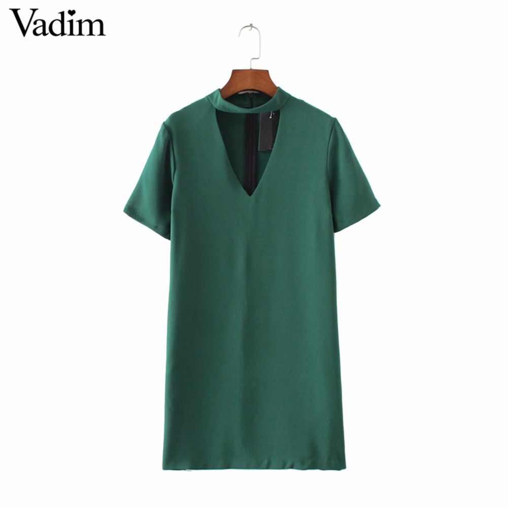 Женские пикантные вырезами с v-образным вырезом платье с коротким рукавом мини-платья Твердые Черный Зеленый женская летняя повседневная Уличная vestidos QZ2628