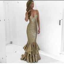 2017 Sexy Abendkleid Abendkleider Goldene V-ausschnitt Pailletten Spitze Split Neue Ankunft Preiswerte tee-länge Abschlussball-partei-kleid kleid