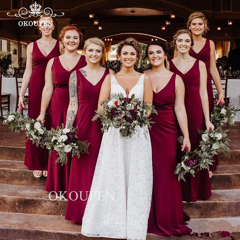 Burgundy Mermaid   Bridesmaid     Dresses   2019 Wholesale Price Lace Up Back Deep V Neck Long   Dress   For Wedding Party Gown
