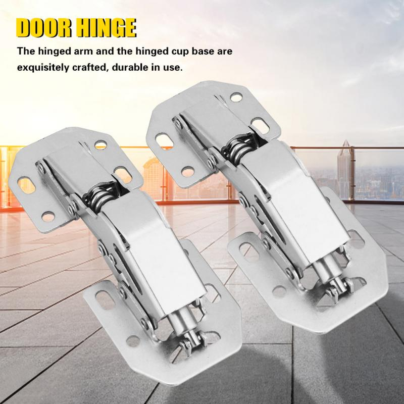 2Pcs No-Drilling Hinge for Cupboard Cabinet Door Hole Bridge Shaped Spring hinge Hardware Kit charniere meuble bois