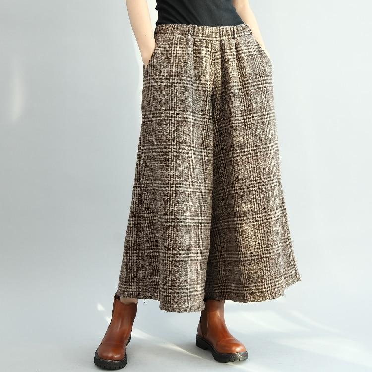 autumn winter Japanese plaid woolen   wide     leg     pants   trousers mori girl 2018