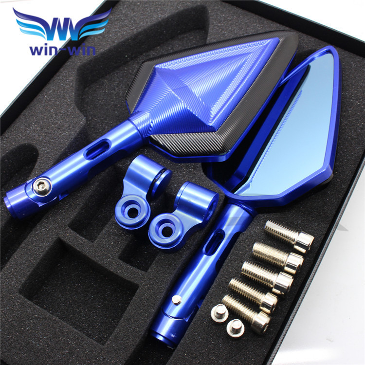 fashion universal Aluminum Motorcycle Rearview Mirror CNC classic -look Blue & BLACK sword shape Mirrors 3 colors optional special design custom motorcycle cnc rearview mirror blue