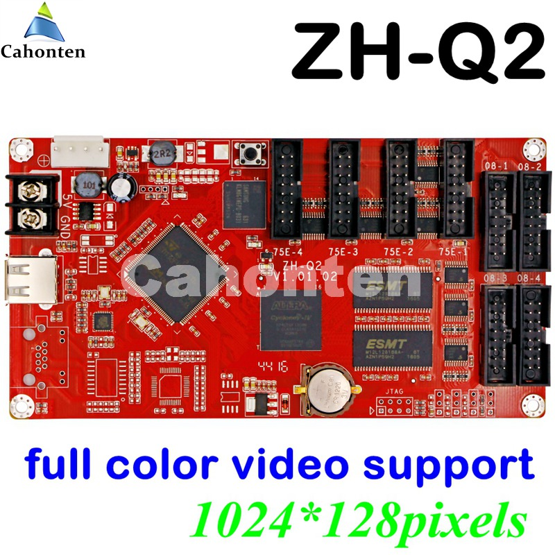 ZH-Q2 USB full color led control card video support 1024*128 pixel display U disk asynchronous led controller with 4*hub75E port fk cx5 rj45 netwok and usb led control card 2408 48pixels support single