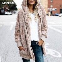 LASPERAL New Year Spring Faux Fur Teddy Bear Coat Jacket Women Fashion Open Stitch Hooded Coat