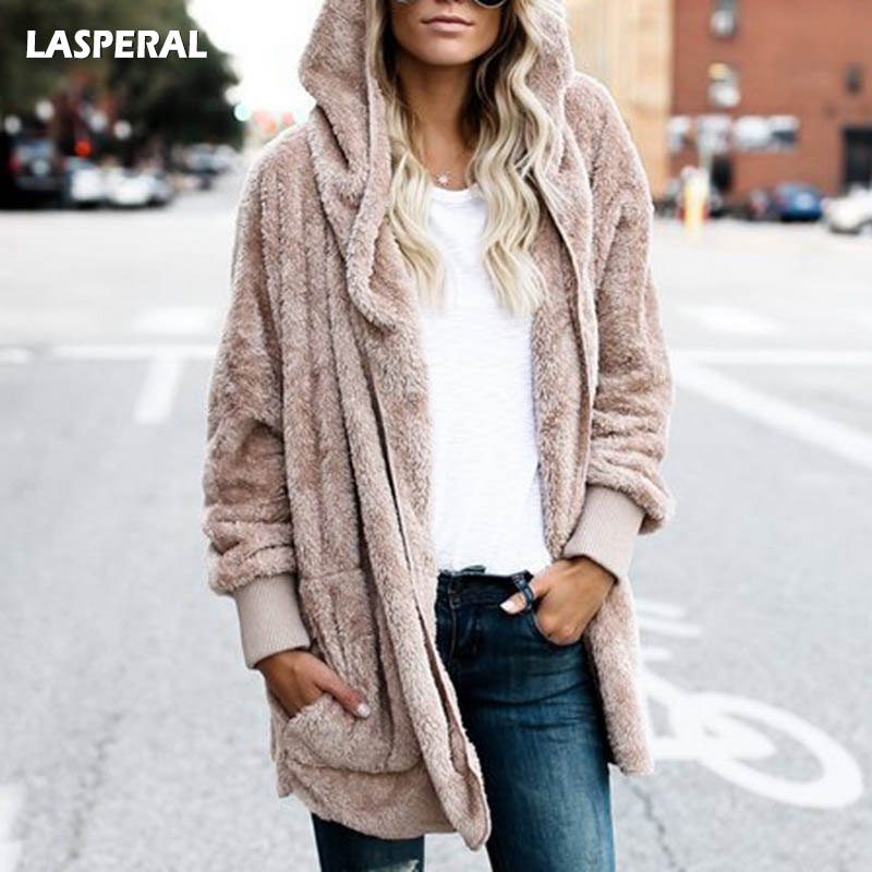 LASPERAL New Year Spring Faux Fur Teddy Bear Coat Jacket Women Fashion Open Stitch Hooded Coat Female Long Sleeve Fuzzy Jacket