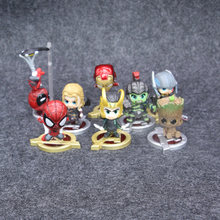 8 pçs/set Infinito Guerra Bonito Spiderman Ironman Marvel Avengers Loki Thor Hulk Guardians Of the Galaxy Figura Brinquedos(China)