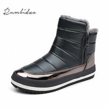 Rumbidzo 2018 зима Для женщин Сапоги и ботинки для девочек плоская подошва теплые зимние сапоги ботильоны с круглым носком на платформе слипоны; Sapatos Botas
