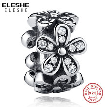 ELESHE 100% 925 Sterling Zilver Dazzling Madeliefjes Bloem & Clear CZ Spacer Bead Charm fit ELESHE Armband & Ketting DIY sieraden(China)