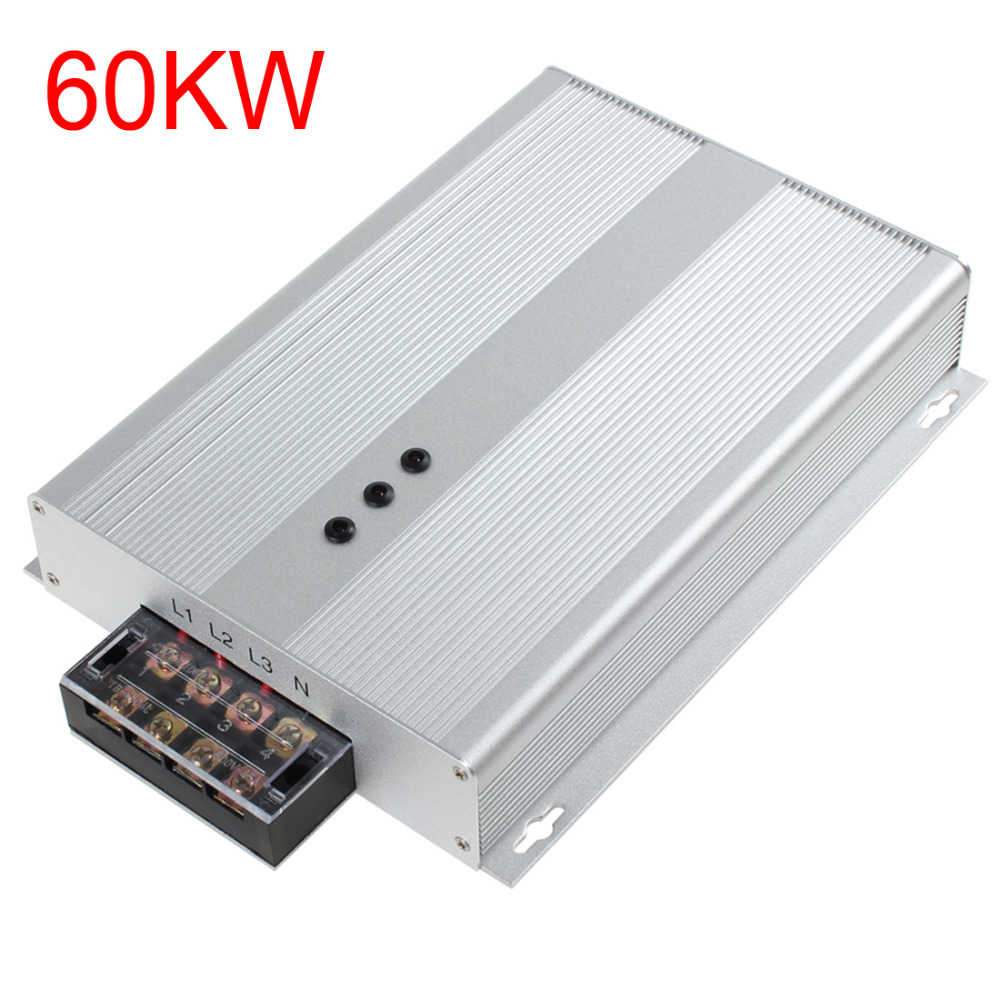 Silver 60KW Power Energy Saver Box Three Phase Industrial Power Electricity Saving Box Device AC 90-400V for Home Office Factory electricity saving box household power saver device