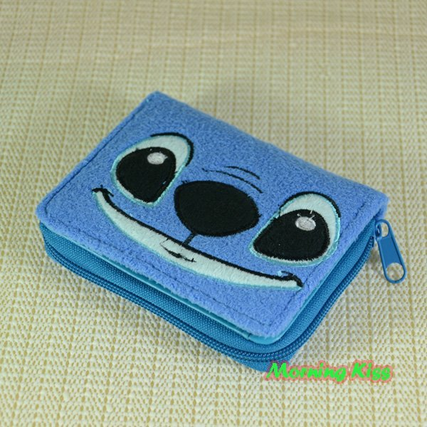 New Lovely Lilo &Stitch buckle short Wallet Purse Coin Bag Card Holder plush W-MJST-A81