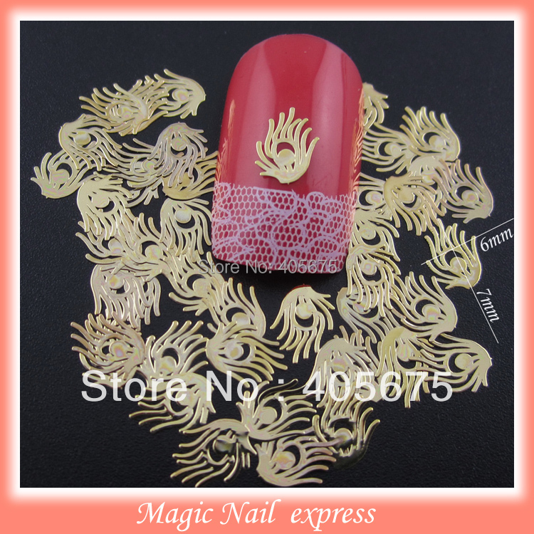 Gold metal nail art feather slices DIY nail studs 1000pcs/pack 3d christmas nail art decoration gel many different types of selection 3d metal alloy nail decoration nail jewelry diy studs gold plated nail art tips decal 10pcs