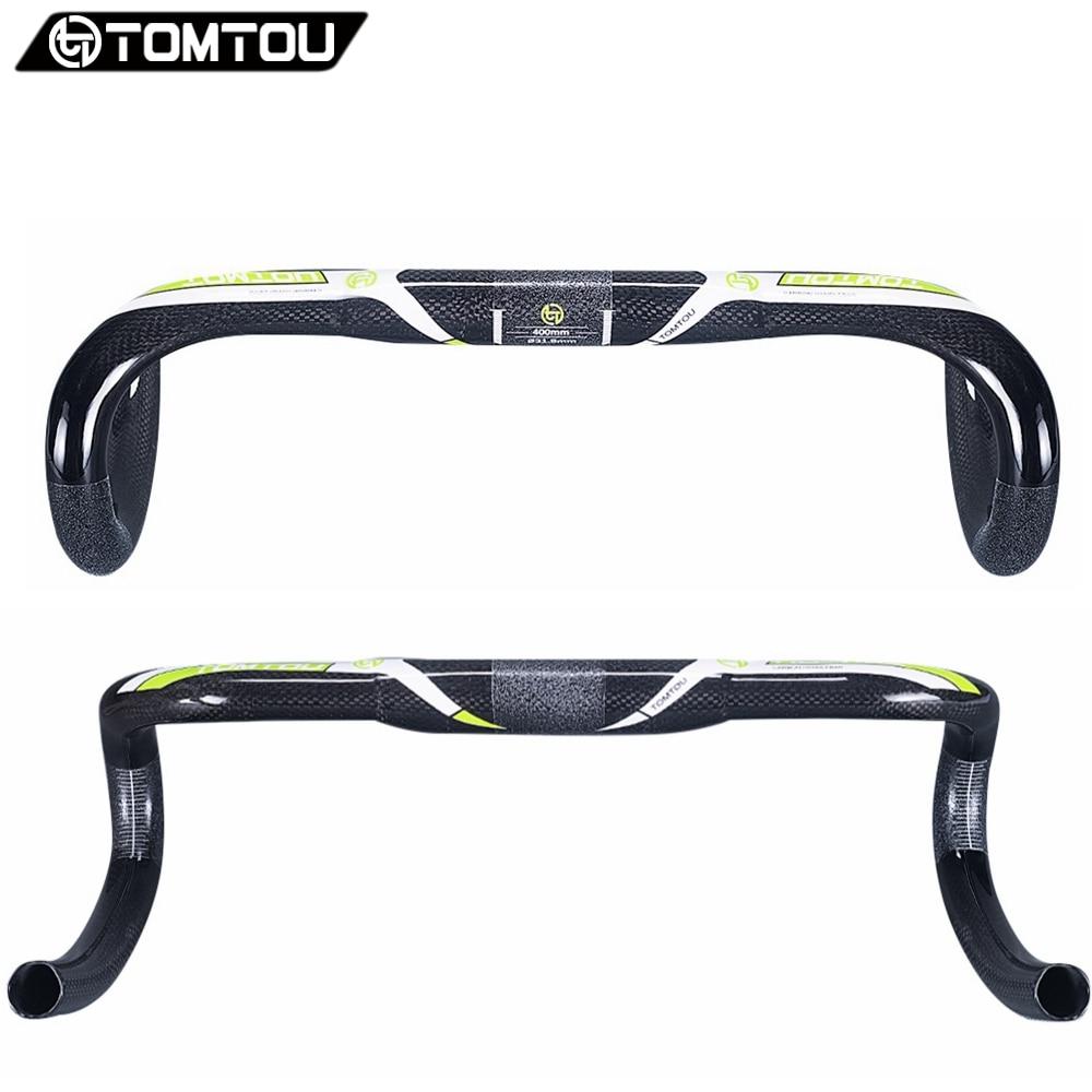 TOMTOU carbone route vélo guidon goutte 125mm atteindre 80mm 31.8*400/420/440mm 3 K carbone vélo plié barre vert-TF9T13