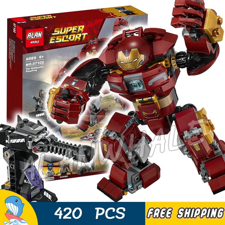 420pcs Super Heroes Black Panther the Hulkbuster Smash-up 07102 Model Building Blocks Toys Bricks Compatible With lego