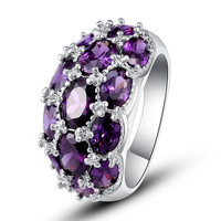 Luxuriant Bohemia Style Attractive Design Jewelry Oval Cut Purple Amethyst 925 Silver Ring Size 7 8 9 10 Wholesale Free Shipping