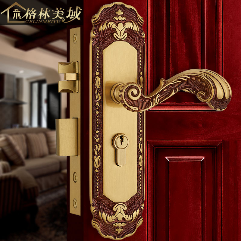 все цены на European door lock pure copper antique interior bedroom door lock villa full copper solid wood door lock