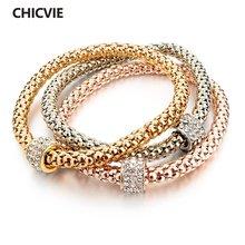 Женские браслеты цвета розового золота chicvie повседневные