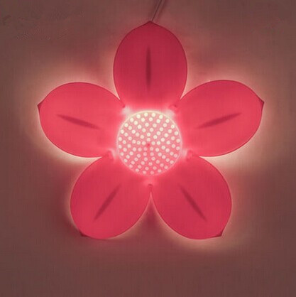 Acrylic pink flower cute creative LED wall light for Children bedroom  baby room night lamp bedside lamp,bulb included yimia creative 4 colors remote control led night lights hourglass night light wall lamp chandelier lights children baby s gifts