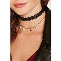 Lace preto curto estilo neck choker a cruz broadside double-deck lady colar 2017 jóias venda direta da fábrica