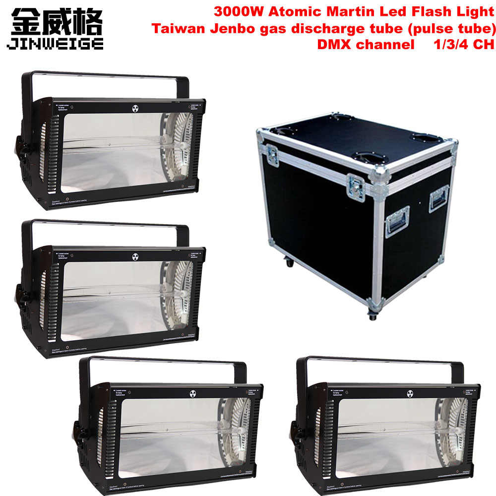 Free Shipping 4pcs/lot Flightcase Packing DMX Flash Martin Atomic 3000 Strobe Light 3000W Strobe Lighting for DJ Equipment