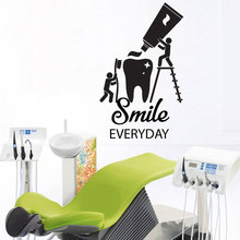Shiny Teeth Stomatology Decal Dental Clinic Window Glass Vinyl Sticker Dentist Smile Wall Art Decals Removable Tooth Decor Z278 dental children removable deciduous teeth model permanent tooth alternative display studying teaching tool