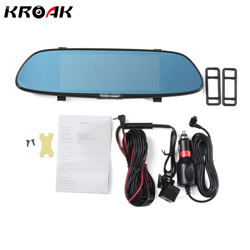 Dual Lens Rearview Mirror Car DVR Camera GPS Navigator Video Recorder 7 Inch FHD 1080P Auto DVRs Dash Cam 5 inch car camera dvr dual lens rearview mirror video recorder fhd 1080p automobile dvr mirror dash cam