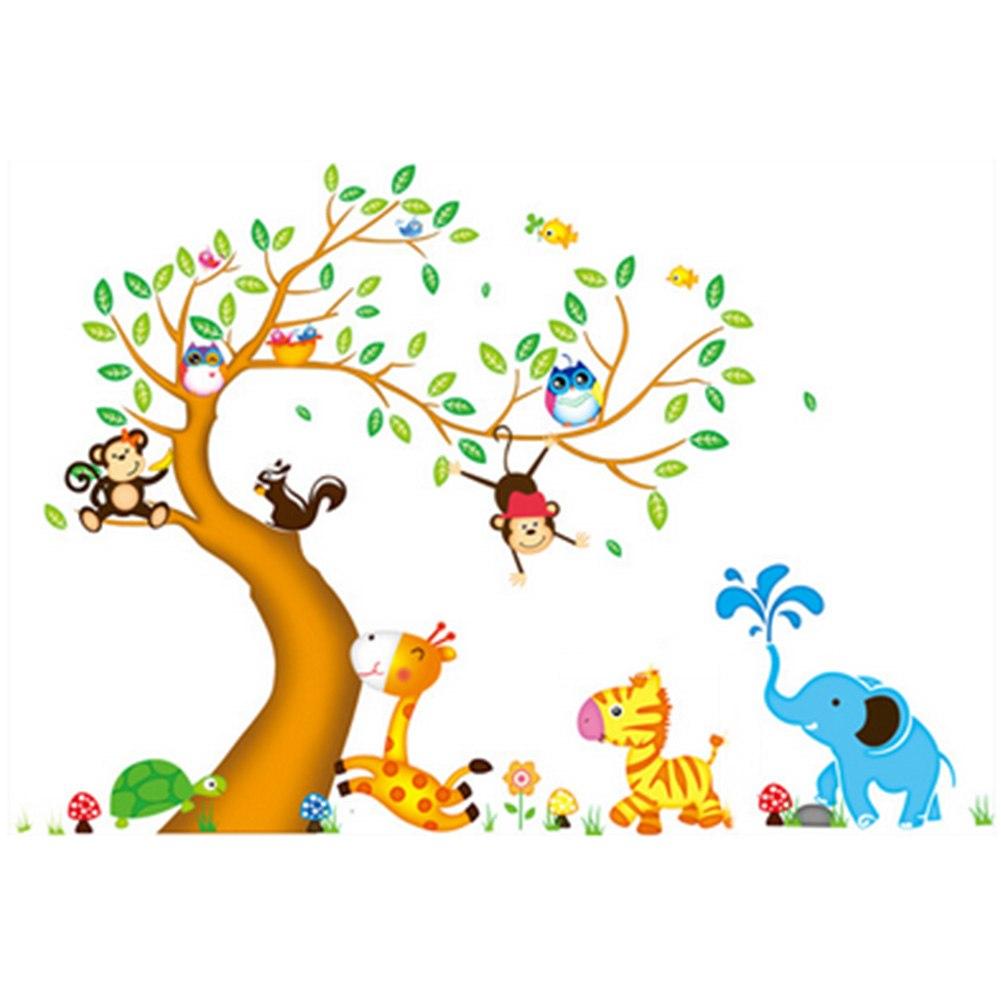 Home & Garden Conscientious 1/set Monkey Owl Animals Tree Cartoon Vinyl Wall Stickers For Kids Rooms Home Decor Diy Child Wallpaper Art Decals House Decor Home Decor