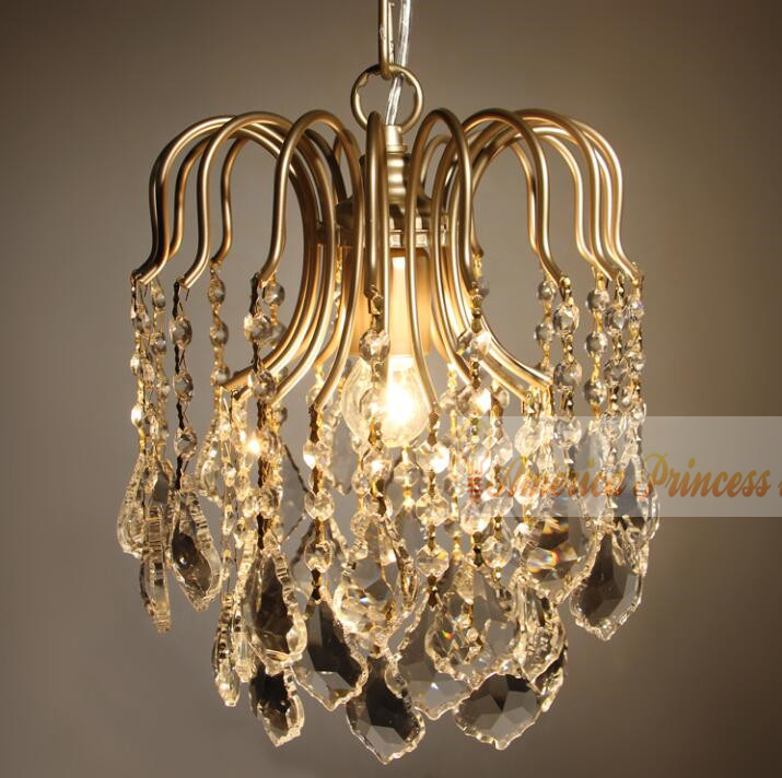 US $38.64 16% OFF|European style staircase small crystal chandelier living  room bedroom cloakroom restaurant aisle lamps, E27.-in Pendant Lights from  ...