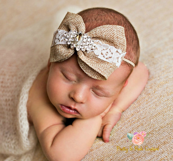 Big linen bow rhinestone headband newborn photography photo shoot accessories for band girls kids hair head band turban tiaras in hair accessories from
