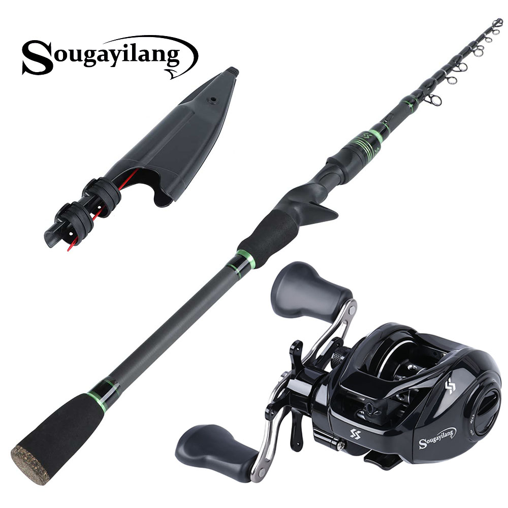 Sougayilang 1 8m 2 1m Telescopic Carbon Portable Fishing Rod with Baitcasting Reel Combo Freshwater Travel