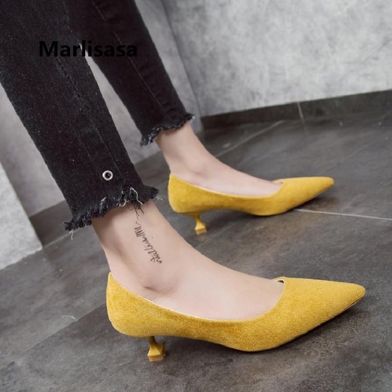 Marlisasa Femmes Talons Hauts Women Cute Sweet Spring Flock High Heel Shoes Lady Yellow Comfortable Summer Office Pumps F2959