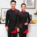 Olla caliente Uniformes de Camareros de Restaurante Cafetería Hotel Camarero Ropa Coreana con Mangas Largas con Delantal Femenino