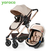 Luxury Baby Stroller 3 In 1 High Landscape Baby Carriages For Kids With Baby Car Seat