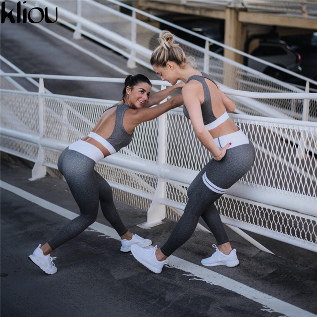 Fitness Crop Top back Hollow out And Legging Sets Femme Printed 2 Piece Set striped workout Tracksuit 5