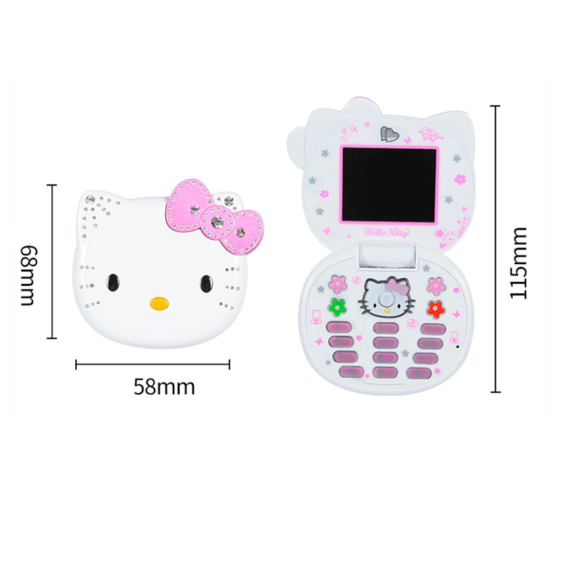 Image 5 - K688+ Cute Mini Hello Kitty Girl Phone Quad Band Flip Cartoon Mobile Phone Unlocked Kids Children mini cheap Cell Phone H mobile-in Cellphones from Cellphones & Telecommunications
