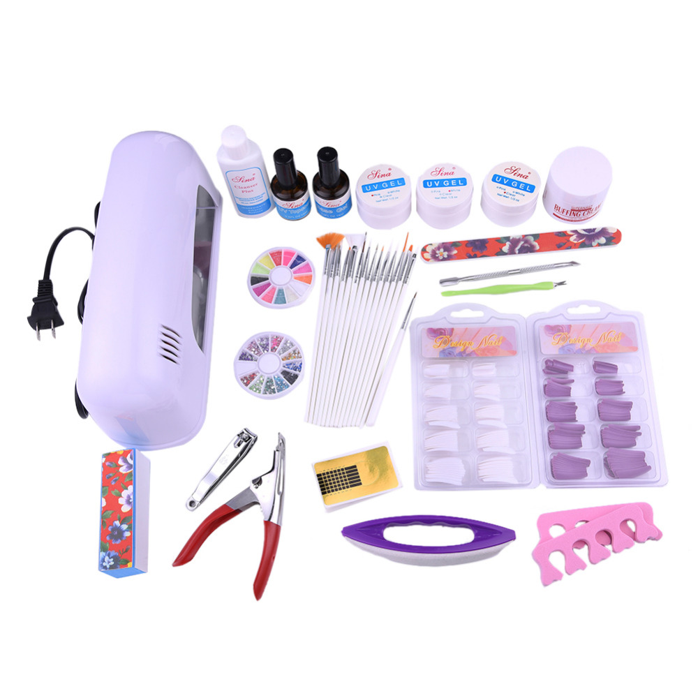 ФОТО Pro 9W UV Gel Light Therapy Machine UV Extended Gel Set Nail Peals Decorations French Nail-Tips Nails Brush Manicure Tools Kit