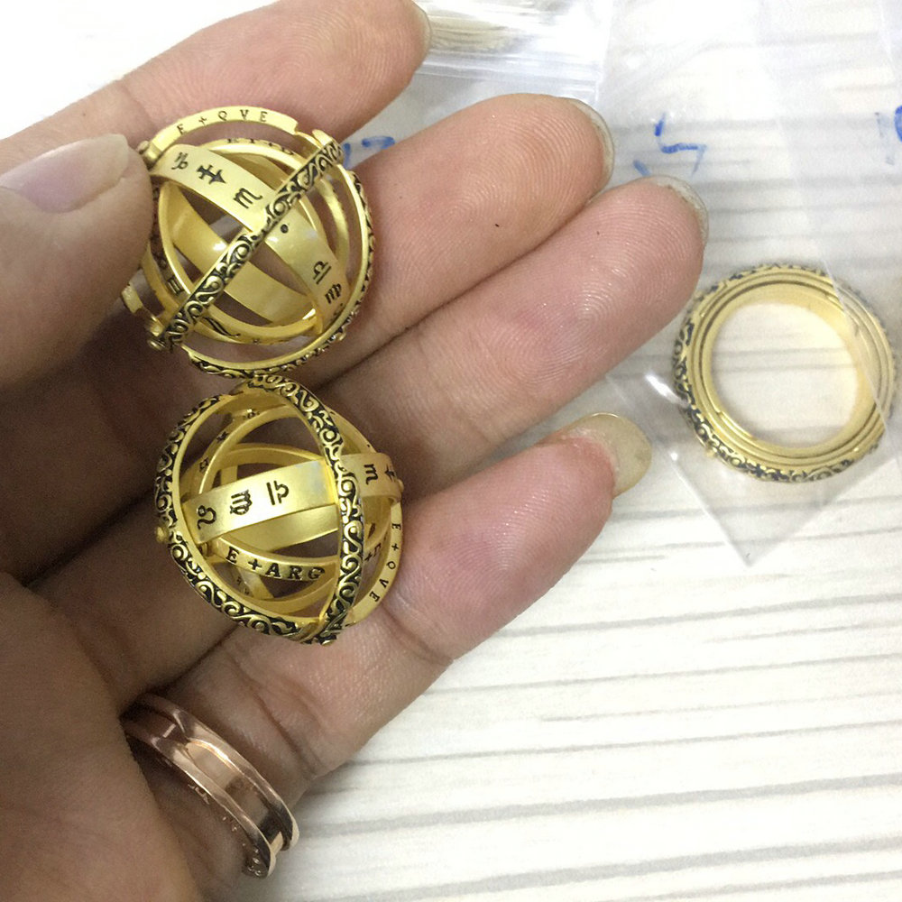 925 Silver Love Astronomical Ball Ring Creative Personality Customized Ring Pendant Characteristic Spherical Couple Ring(China)