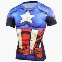2016 Compression Shirt Anime Superhero Punisher Captain America Superman 3D T Shirt Fitness Tights Base Layer T Shirts