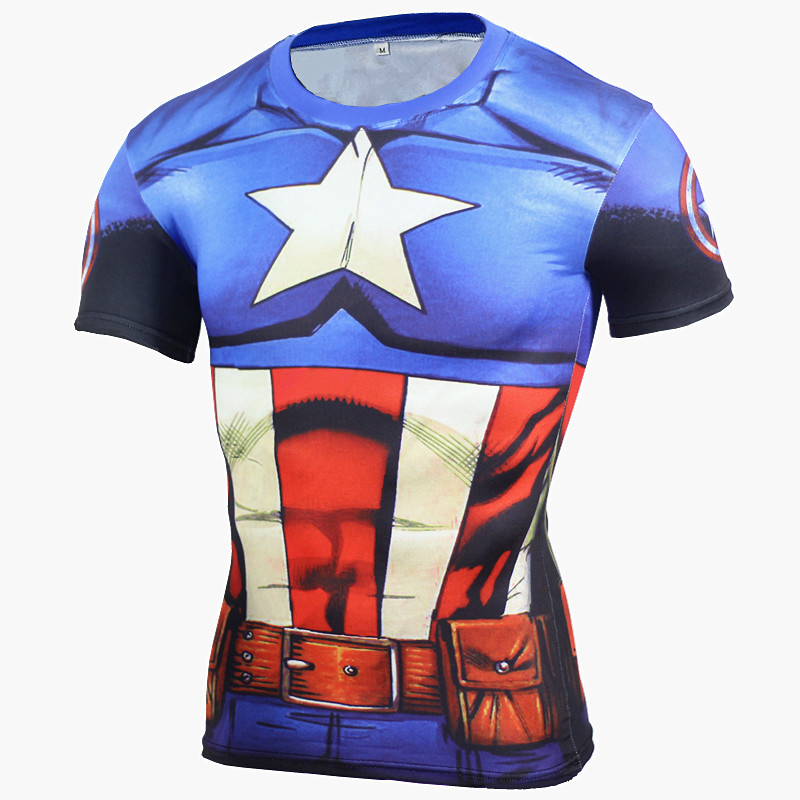 Kompresi Kemeja T Kemeja Pria Anime Superhero Punisher Captain America Superman 3D Tshirt Kebugaran Tights Lapisan Dasar T Shirt