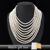 Maxi Necklace Pearl Jewelry Big Necklace Women Fashion Jewelry Vintage Trendy Collar Wedding Multi layer Necklaces N389