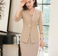 2018 Women skirt suit fashion Sashes elegant Patchwork Short Sleeve White black Blazer skirt sets business office ladies work