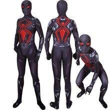 Adult Kids PS4 Spider Dark Suit Cosplay Costume Zentai Spider Superhero Bodysuit Suit Jumpsuits