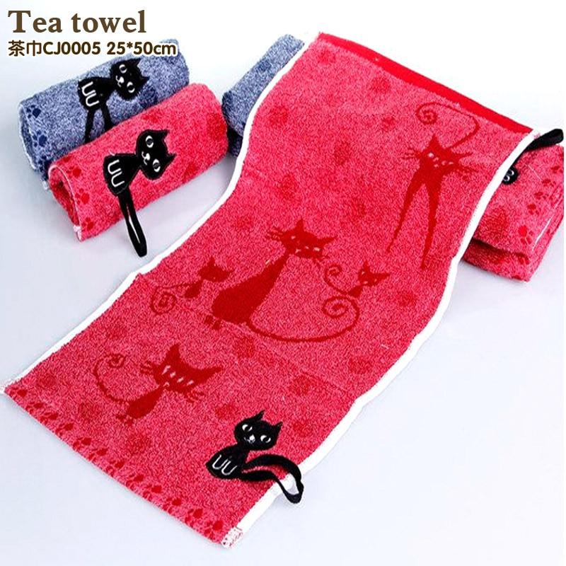 Geschirrtuch Baumwolle Kindertuch Mode Cartoon Katze Handtücher Freies Verschiffen Gesicht Tuch Tiefe Farbe