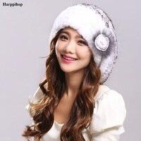 2017 Russia Real Fur Hats For Women Hat Knitting Caps For Girls Rex Rabbit Fur Beanies