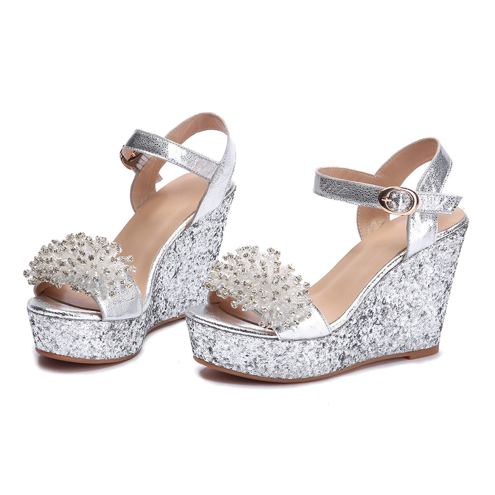 5f793b75cf2 US $43.16 48% OFF|Asumer 2018 summer shoes woman buckle elegant prom  wedding shoes bling crystal platform wedges shoes genuine leather  sandals-in High ...