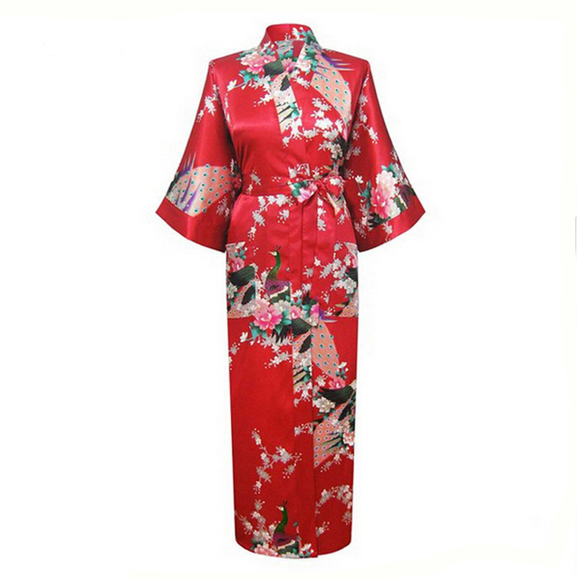 Hot New Red Women Silk Rayon Robes Print Sleepwear Sexy Kimono Bath Gown Summer Casual Nightgown Plus Size S-XXXL NR013