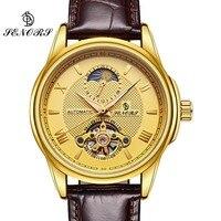 Бизнес Деловые часы Для мужчин S Skeleton Tourbillon автоматические часы Для мужчин золото Сталь Календари Водонепроницаемый Relojes HOMBRE 2017