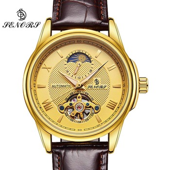 Business Mechanical Watches Mens Skeleton Tourbillon Automatic Watch Men Gold Steel Calendar Waterproof Relojes Hombre 2017