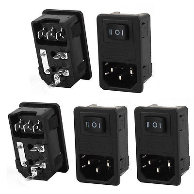 AC 250V 10A 3 Terminals Rocker Switch IEC320 C14 Power Inlet Socket w Fuse 5 Pcs black fuse switch holder iec 320 c14 3pin screw type power inlet socket ac 250v