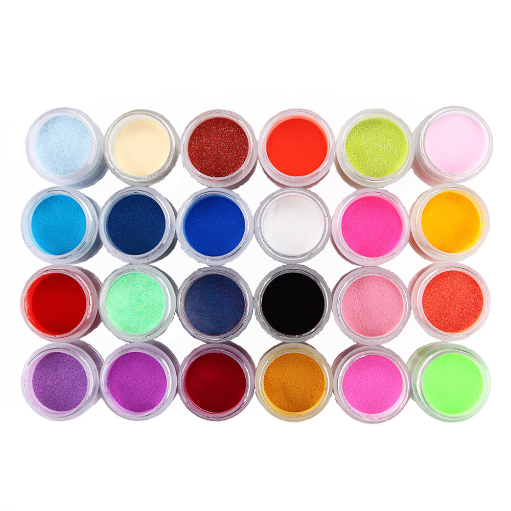 24 Boxes Neon Pigment Nail Powder Dust Ombre Nail Glitter Gradient Iridescent Acrylic Powder Colorful Nail Art Decoration